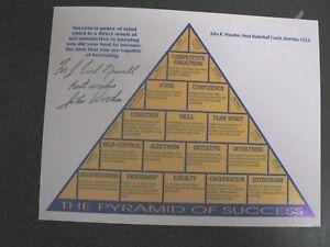 John Wooden Autographed 8.5 x 11  Pyramid of Success UCLA Bruins Basketball
