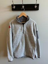 Antigua Half Zip Red Sox logo Grey Heather Sports Theme Mens Sweatshirt Medium