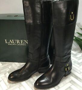 "Ralph Lauren Women's 6B Mesa Leather Riding Boots Black Equestrian 1"" Heel Low"