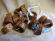 """14 VINTAGE Hand Carved Wooden Napkin Rings INDIA -  ten 1"""" wide & four 1/2"""" wide"""