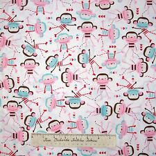 Nursery Baby Fabric - Sock Monkey Toss Pink Blue White Timeless Treasures YARD
