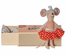 Maileg - Big Sister Matchbox Mouse - Red Polka Dot Skirt 2016 - Boxed w/Bedding