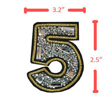 No.5 Number Five Rhinistones Golden Thread Sequin Iron On Patches Sew Applique