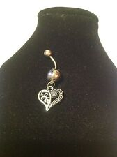 belly heart charm silver plated