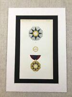 1858 Italian Medals Military Order Pope Pius IX Antique Chromolithograph Print