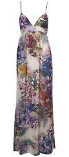 TOPSHOP Floral Sheer White Purple Sleeveless Summer Cami Maxi Dress UK 8 BNWT