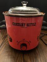VTG Crockery Kettle Stoneware Red Orange Slow Cooker New/Old 3.5 Qt Japan