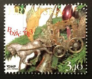 Christmas mnh stamp 2013 Croatia #891 ornaments horse coach