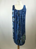 Desigual ladies mini dress sleeveless round neck blue floral polyester size EU40