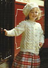 """Girls  Aran Cardigan and Beret Knitting Pattern  22-28"""" 406"""