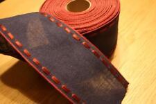 Leinenband, dunkelblau, m. roten Rand, 7 cm breit