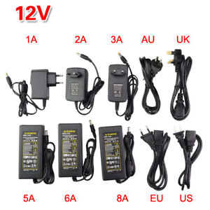 AC DC12V Power Supply Adapter1A 2A 3A 5A 6A US EU UK AU Plug For LED Strip