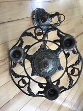 Antique Vintage Victorian / Art Nouveau Cast Metal 3 Light Ceiling Fixture