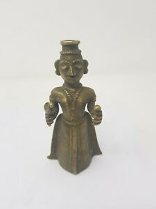 Old Vintage Brass Figure Lady Eye Liner Coal Pot Surmadani Decorative NH5462