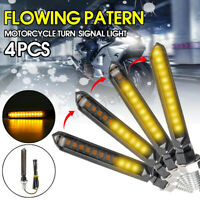4x Universal Flowing Motorcycle Motorbike LED Turn Signal Indicator Light Yellow