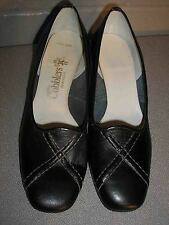 5 M NOS Vtg 70s California Cobbler BLACK LEATHER MOD HEEL PUMP DETAILED TOE Shoe