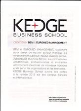 KEDGE BUSINESS SCHOOL  Pub de Magazine .Magazine advertisement. 2012