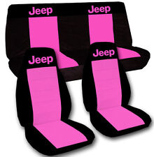 1997-2006 Jeep Wrangler TJ Seat Covers Hot Pink & Black Canvas Front & Rear Set