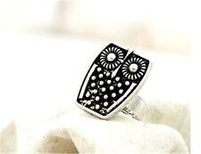 Adjustable vintage antique style silver black owl ring