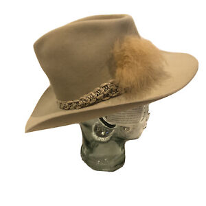 Resistol Stagecoach Cowboy Hat Braid band Tan Beige Feather Size 7 1/8 Long Oval