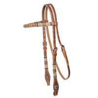 Western Natural Leather Brow-band Style  Headstall with Dots &rawhide Braiding