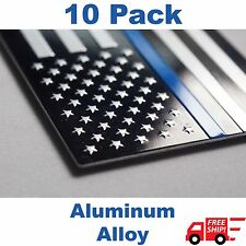 (10 PACK) Aluminum Police Officer Thin Blue Line American Flag Decal Sticker