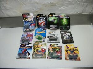 LOT OF 12 NEW HOTWHEELS CARS GHOSTBUSTERS 007 TOM JERRY SPIDERMAN JETSONS