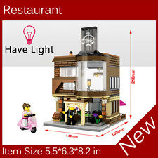 Mini Street View Building Block Restaurant Have Light SD6700