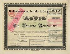 Berlin-Oberspree Immobilien-Gesellschaft – Actie über 1.000 Mark, 13. Mai 1899