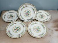"""EB Foley MING ROSE Bone China 8 1/4"""" SALAD PLATES 5 Qty Made in England(1930's)"""