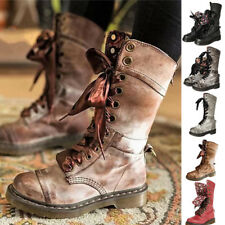 Retro Womens Mid Calf Lace Up Biker Punk Military Combat Ankle Boots Shoes Plus