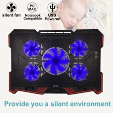 5 Fans Laptop Cooling Pad Cooler Stand External Coolpad Fan Mat 12'' 17'' Inch