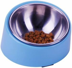 Mess Free Slanted Bowl for Dogs and Cats, Tilted Angle Bulldog Bowl Pet Feeder