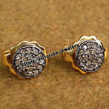 Estate Vintage 0.67Ct Natural Pave Rose Cut Diamond Jewelry Silver Studs Earring