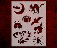 "Halloween Bat Cat Pumpkin Witch + 8.5"" x 11"" Custom Stencil FREE SHIPPING (42)"