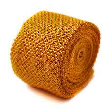 plain yellow gold skinny knitted tie by Frederick Thomas FT275