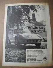 LOTUS ELAN - WHO'S JUST ARRIVED - Original magazine CAR ADVERT FROM 1970