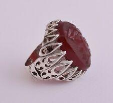 Islamic Silver Yemen agate hand engrave kabdi aqeeq akik Ring-يا قيوم