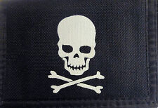 Men Boys Pirate Skull & Crossbones Trifold Canvas Wallet with Compartments