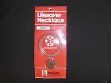 "Diabetic alert necklace stainless steel 24"" chain NIP"