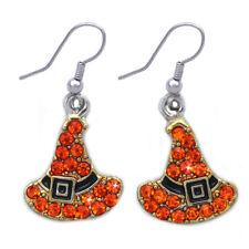 Orange Witch Wizard Hat Dangle Hook Earrings Halloween Party Costume Jewelry