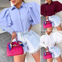 Women Button Down Dress Shirt Long Sleeve Blouse Tee Basic Plus Size Ruffled Top