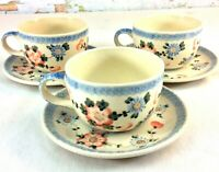 Vintage Polish Pottery Teacups & Saucers Qty 3 Boleslawiec Ceramika Artystyczna