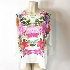 H&M Women's Blouse Size 14 White Abstract Floral print