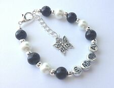 Girls black personalised butterfly charm bracelet jewellery gift - any name!!