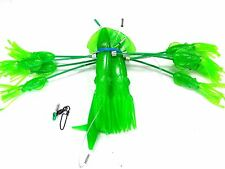 """Squidnation Flippy Floppy Thing Trolling 9"""" Mauler Squids Chain - Green Bright"""