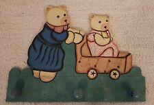 Vintage Kinder GARDEROBE mit 3 Haken Kleiderhacken 2 Bärchen Bären Wand Kids Gut