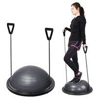 """23"""" Exercise Fitness Yoga Balance Trainer Ball W/ Resistance Bands & Pump Grey"""