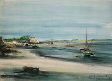 Sacha CHIMKEVITCH - Peinture originale signee - Maree basse en Normandie