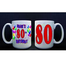 80th Birthday Party (Age 80) PERSONALIZED CUSTOM BIRTHDAY BALLOON BIG MUG / CUP